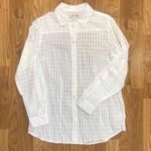 Coldwater Creek White Button-Down Small/Size 8
